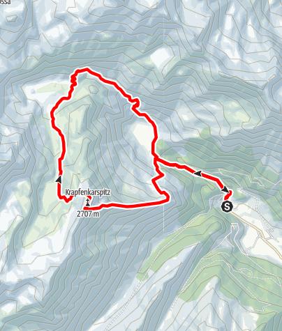 Map / Mountain Krapfenkarspitze in valley Ridnaun