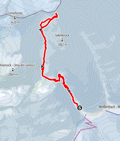 Karte / Skitour zur V. Hornspitze 3148 mt.