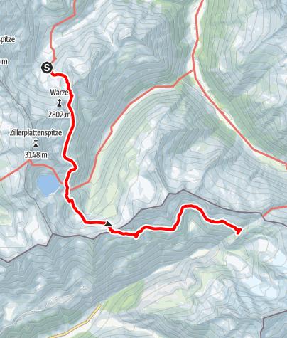 Karte / Richterhütte-Birnlückenhütte mit Eissee