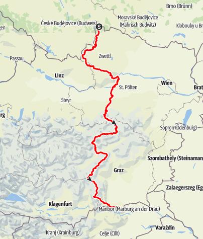 Karte / #südwärts '16: Zu Fuß durch Österreich