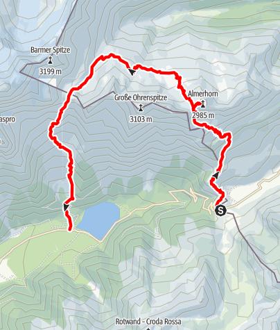 Karte / Bergtour: Almerhorn 2.986m - Barmerhütte 2.610m - Antholzersee