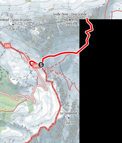 Karte / Klettertour: Gelbe Kante - Kleine Zinne VI+