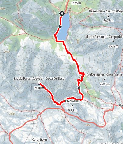 "Map / Summer hiking tour - Lago di Braies/Pragser Wildsee - Mountain ""Croda del Becco/Seekofel"""