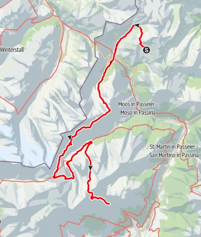 Mappa / Alta Via Tiroler Höhenweg nella Val Passiria