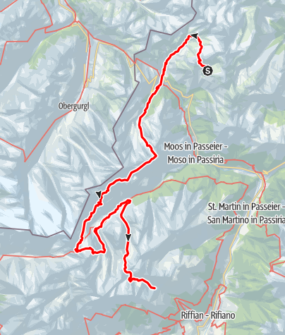 Map / Tirolo High Mountain Trail in the Passeiertal Valley