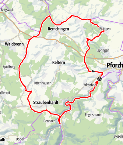 Karte / Dreiweissenstein-Karlsbad-Königsbach-Pforzheim geplant