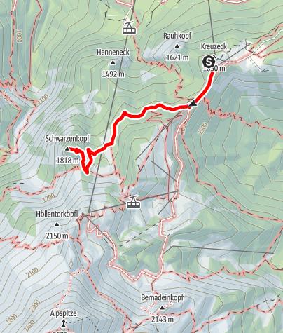 Karte / Kreuzeckhaus-Schwarzenkopf