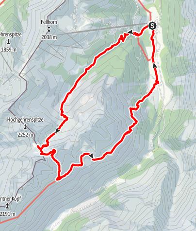 Karte / Rundweg über die Fiderepasshütte zum Guggersee