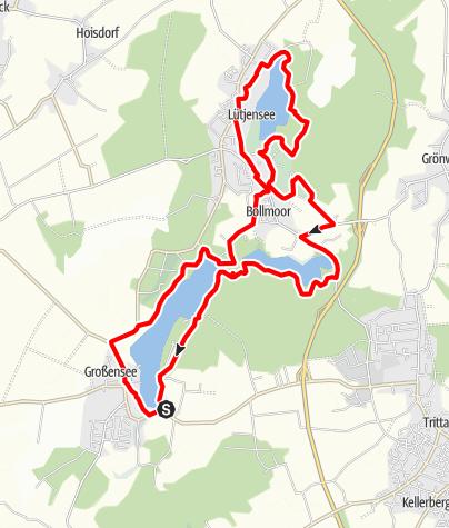 Karte / Großensee Lütjensee Mönchsteich - Rundkurs