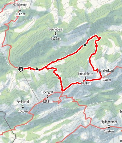 Karte / Rundtour über`s Rindalphorn
