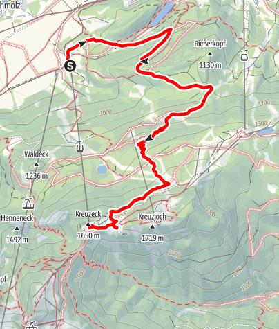 Map / Rundtour auf die Kreuzalm und mit der Seilbahn wieder ins Tal.