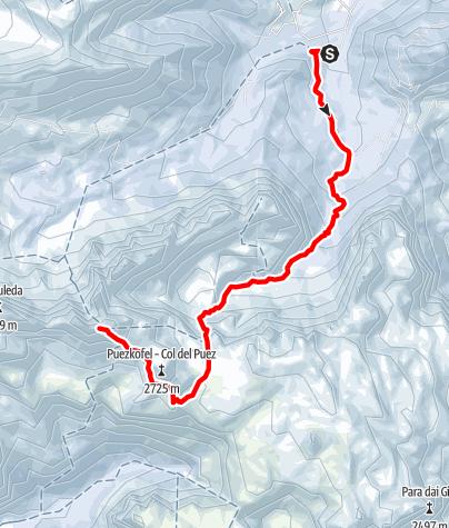 Karte / Skitouren auf die Puezspitze über Antersasc