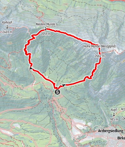 "Karte / ""Einsame Königin"" Hohe Munde Südwand"