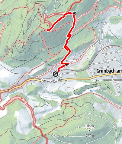 Karte / Von Grünbach Kohlenwerk zur Geländehütte (ohne Naturbelassenen Untergrund)
