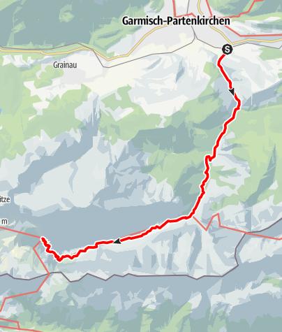 Karte / Alpenüberquerung: Garmisch - Brixen / Etappe 1: Garmisch - Knorrhütte