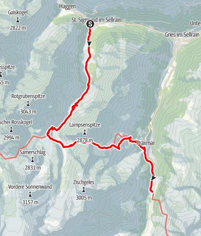 Karte / Alpenüberquerung: Garmisch - Brixen / Etappe 5.1: St. Sigmund im Sellrain - Lüsens