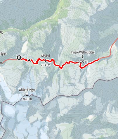 Karte / Alpenüberquerung: Garmisch - Brixen / Etappe 8: Sulzenauerhütte - Bremer Hütte