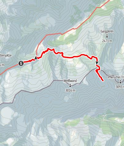 Karte / Alpenüberquerung: Garmisch - Brixen / Etappe 9:  Bremer Hütte - Tribulaunhütte