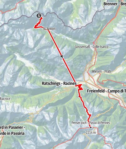 Karte / Alpenüberquerung: Garmisch - Brixen / Etappe 10: Tribulaunhütte - Penser Joch