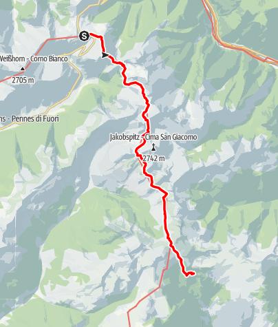 Karte / Alpenüberquerung: Garmisch - Brixen / Etappe 11: Penser Joch - Klausner Hütte