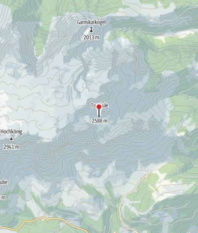 Karte / Torsäule, die Wächterin des Hochkönigs mit über 36 Kletterrouten