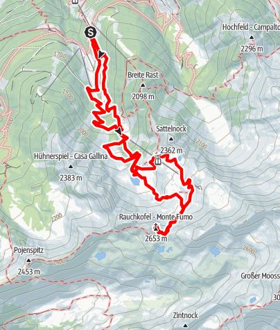 Karte / Rauchkogel (Monte Fumo) 2617 mt - Klaussee (Lago Chiusetta) - Aurina