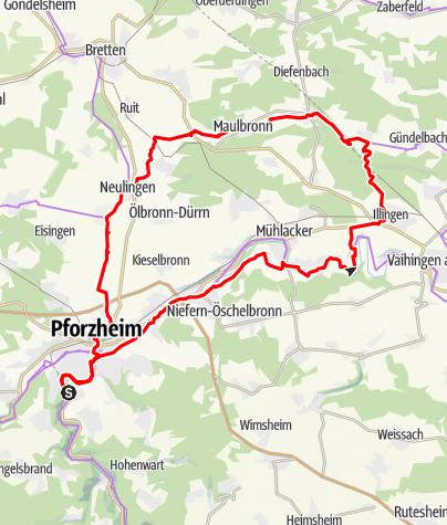 Karte / Pforzheim / Dreiweissenstein - Maulbronn (Rundtour)