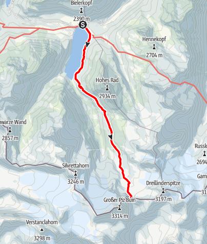 Karte / Gletscherwanderung am Silvretta Stausee