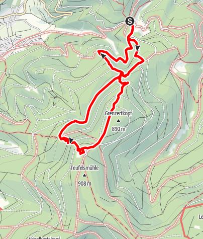Karte / Naturdenkmal Großes Loch, schmale Pfade und viel Aussicht. Familienwanderung