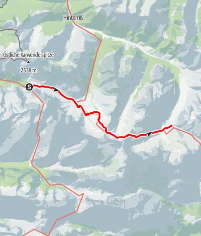 Map / Bahn&Bus Tour: Durchs Karwendelgebirge (Etappe 3: Über die Falkenhütte zum Großen Ahornboden)