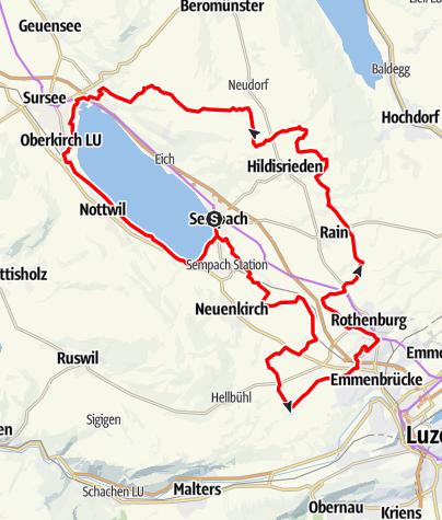 Karte / Sempach Panoramarundtour via Emmenbrücke / Rothenburg - Sempachersee