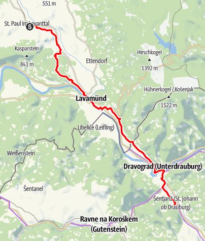 Karte / S01 Benediktweg: St. Paul - Dravograd