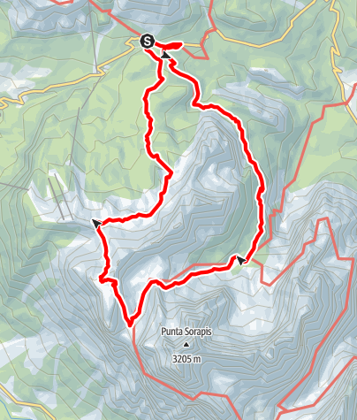 Karte / Heavy loop via lake Sorapiss over Punta nera