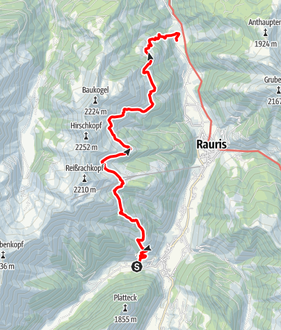 Karte / Rauris: Wörth - Gschlößlalm - Jack-Hochalm - Penninghofalm - Flatscheralm - Hanslwirt Nr. 12