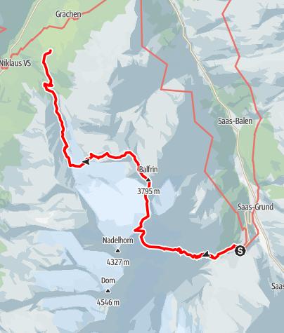 Karte / Überschreitung Ulrichshorn - Balfrin - Groß Bigerhorn