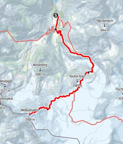 Karte / Weissseespitze vom Gepatschhaus über die Rauhekopfhütte