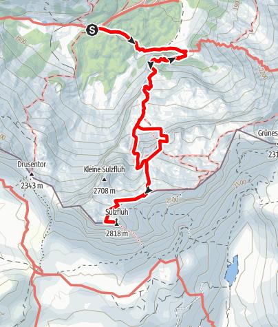 Karte / Sulzfluh über die Gaublickhöhlen