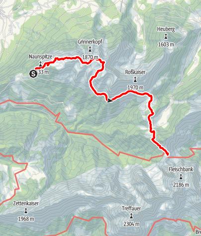 Karte / Stripsenjochhaus - Übergang von der Vorderkaiserfeldenhütte über die Pyramidenspitze