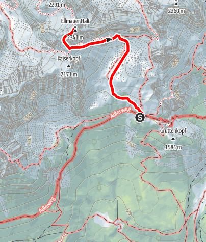 Karte / Ellmauer Halt - ab Gruttenhütte über den Gamsängersteig