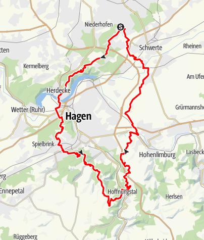 Karte / Anspruchsvolle Radtour Höchsten, Hagen, Volme Höhenweg, Höchsten