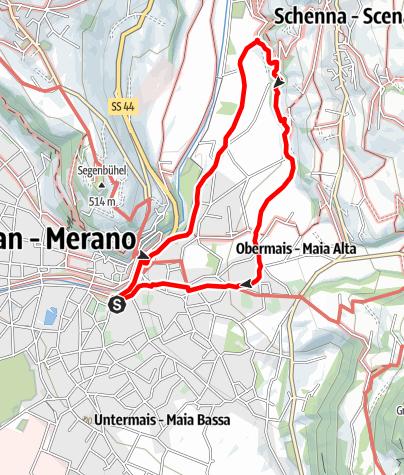 Karte / 2020/11/18: Mittwoch, 18.11.2020: Cavourstraße - Lazag - Maiser Waal - Obermais - CavourstraßeTourenplanung am 2020-11-18