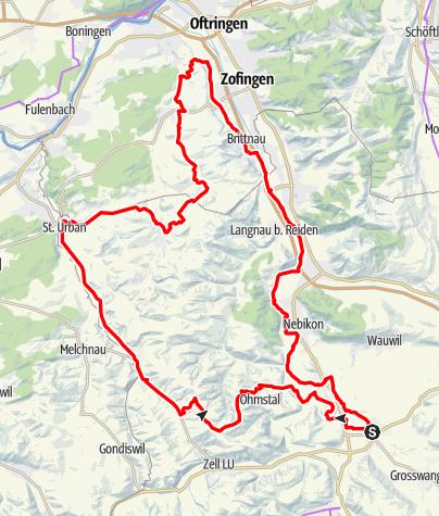 Karte / Ettiswil - Fischbach -St. Urban - Pfaffnau - Brittnau (Rundtour)