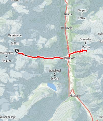 Map / Von der Kaunergrathütte zur Rüsselsheimer Hütte, neue E5-Variante