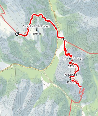 Karte / 2. Etappe: Dürrensteinhütte - Rifugio M. Piana A. Bosi