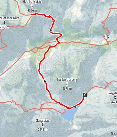 Karte / Übergang von der Ravensburger Hütte über den Spuller See zur Göppinger Hütte