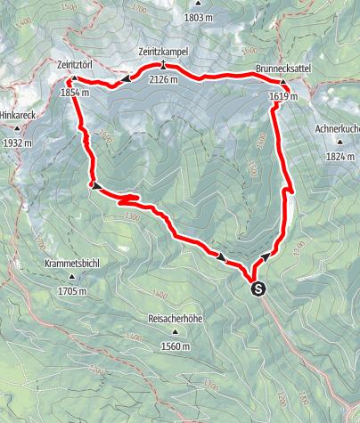 Karte / Zeiritzkampel über Achneralm mit Abstieg zum Zeiritztörl
