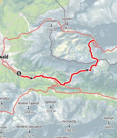 Karte / Zustieg von Ehrwald über`s Gatterl (2020 m) zur Knorrhütte