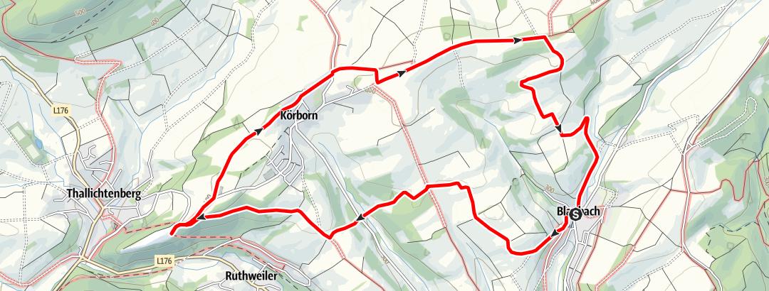 Karte / Burg-Wanderweg der Gemeinden Blaubach und Körborn