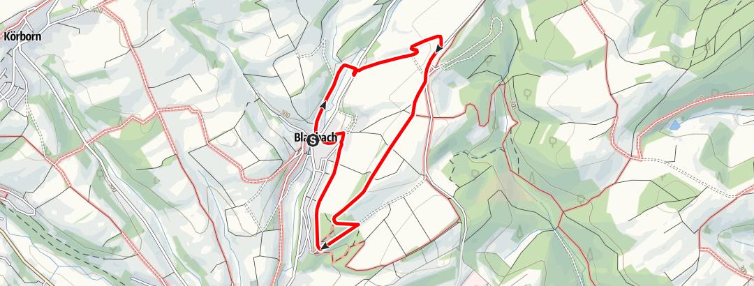 Karte / Blaubacher Hahnenschrei-Rundweg