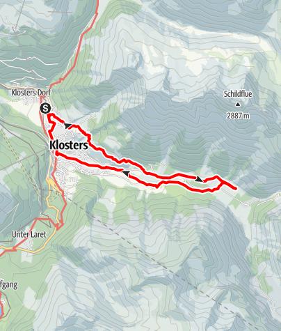 Karte / Rundweg Klosters - Monbiel - Klosters via Bergwanderweg